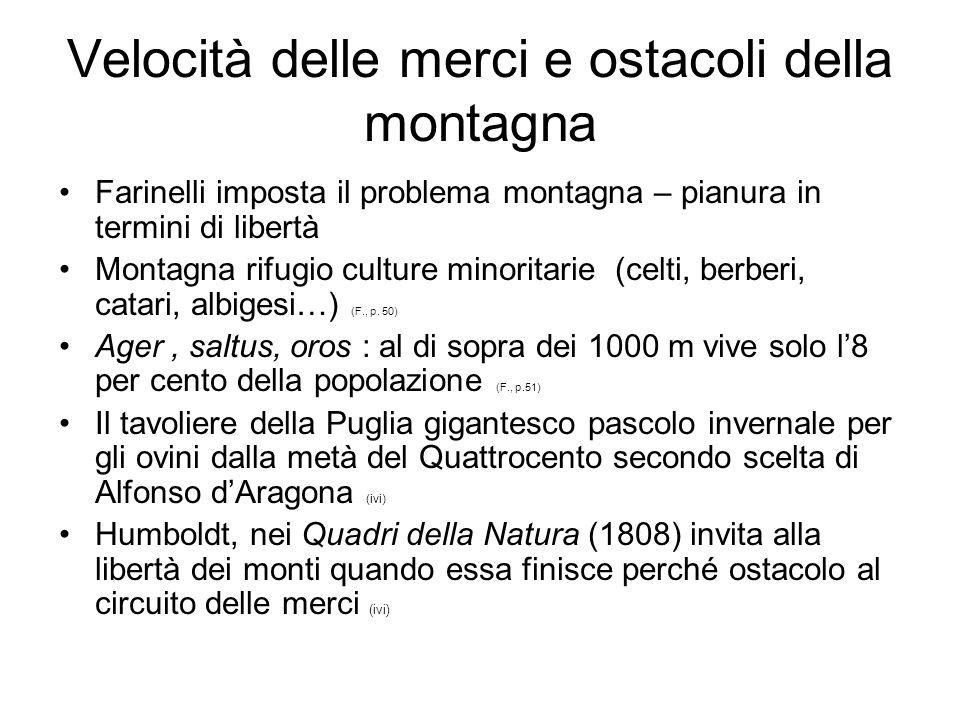 Velocità delle merci e ostacoli della montagna Farinelli imposta il problema montagna – pianura in termini di libertà Montagna rifugio culture minorit