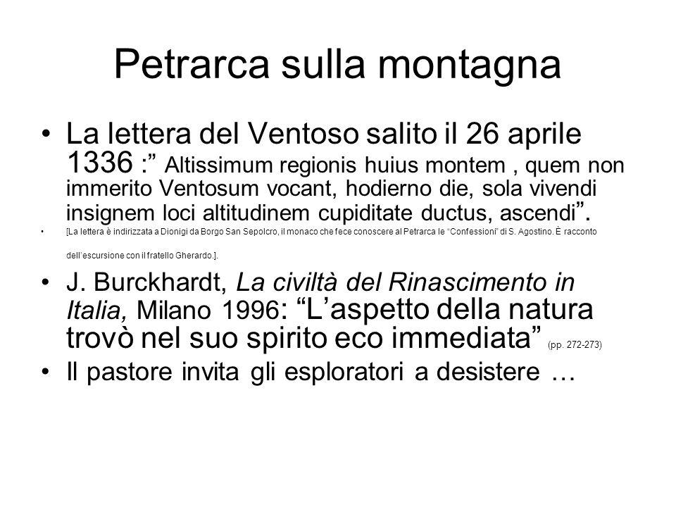 Besse e Bertone Jean-Marc Besse, Vedere la terra, Milano 2008 1- Petrarca sulla montagna 2- Bruegel e la geografia 3- Viaggio in Italia di Goethe 4- Da Humboldt a V.