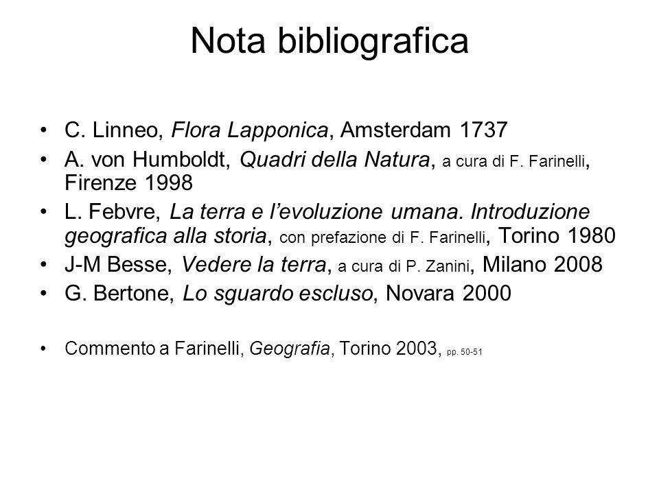 Nota bibliografica C. Linneo, Flora Lapponica, Amsterdam 1737 A. von Humboldt, Quadri della Natura, a cura di F. Farinelli, Firenze 1998 L. Febvre, La