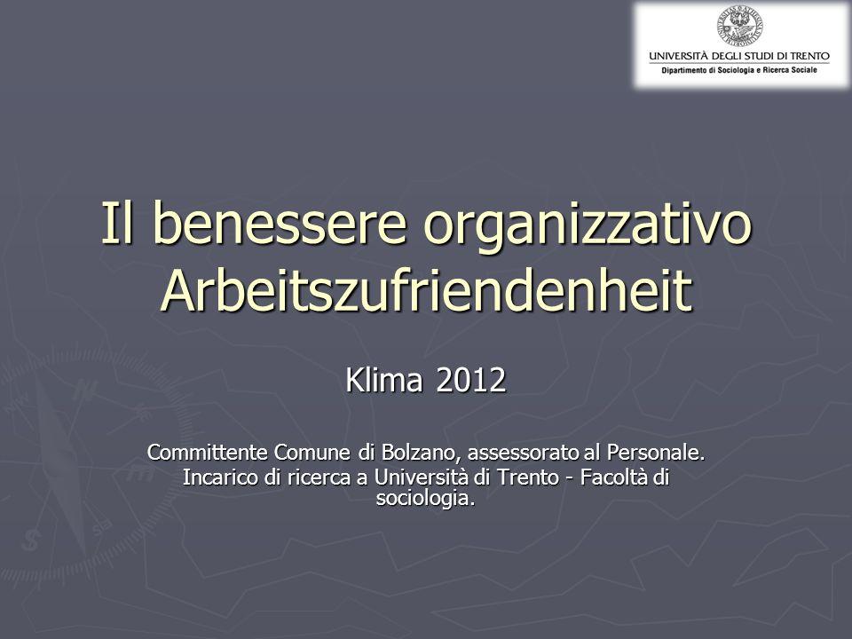 Il benessere organizzativo Arbeitszufriendenheit Klima 2012 Committente Comune di Bolzano, assessorato al Personale. Incarico di ricerca a Università