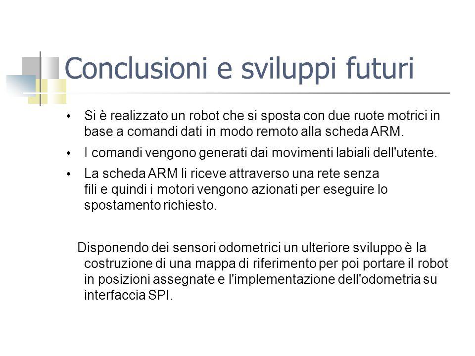 Conclusioni e sviluppi futuri Si è realizzato un robot che si sposta con due ruote motrici in base a comandi dati in modo remoto alla scheda ARM. I co