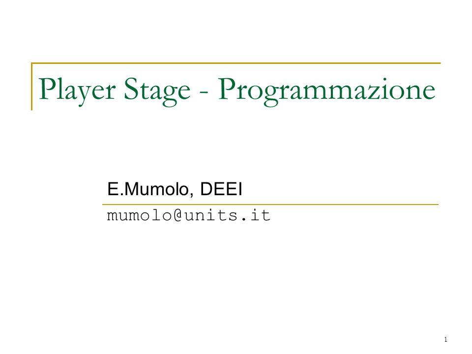 2 Programmazione Player Librerie C (libplayerc), C++ (libplayerclient), Tcl (tclPlayer), etc.