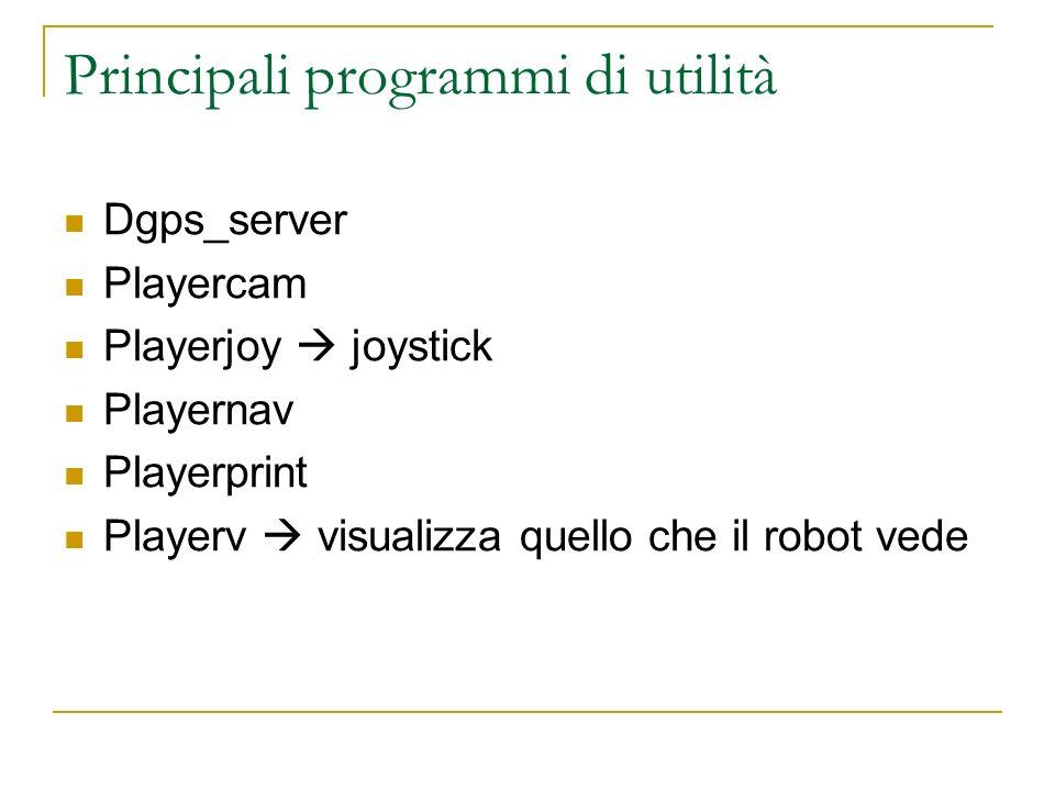 Principali programmi di utilità Dgps_server Playercam Playerjoy joystick Playernav Playerprint Playerv visualizza quello che il robot vede