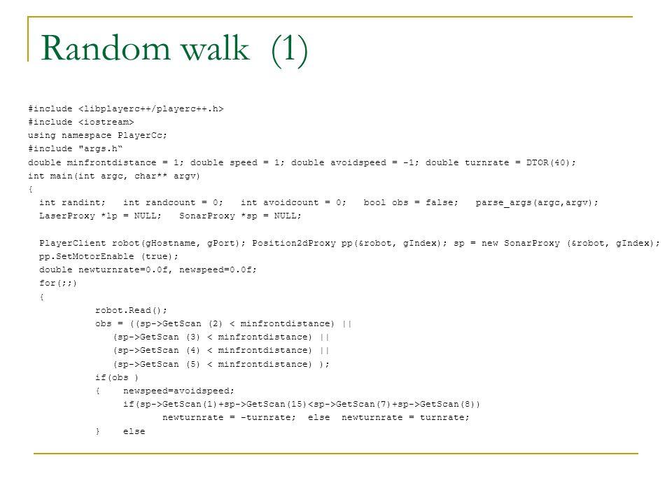 Random walk (1) #include using namespace PlayerCc; #include