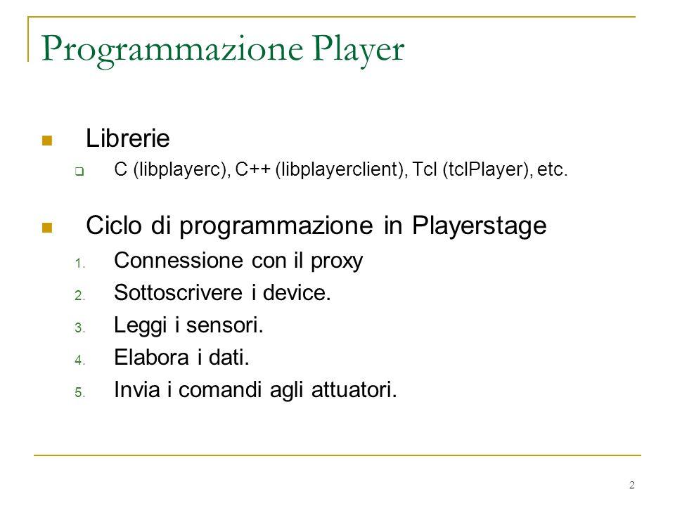 2 Programmazione Player Librerie C (libplayerc), C++ (libplayerclient), Tcl (tclPlayer), etc. Ciclo di programmazione in Playerstage 1. Connessione co
