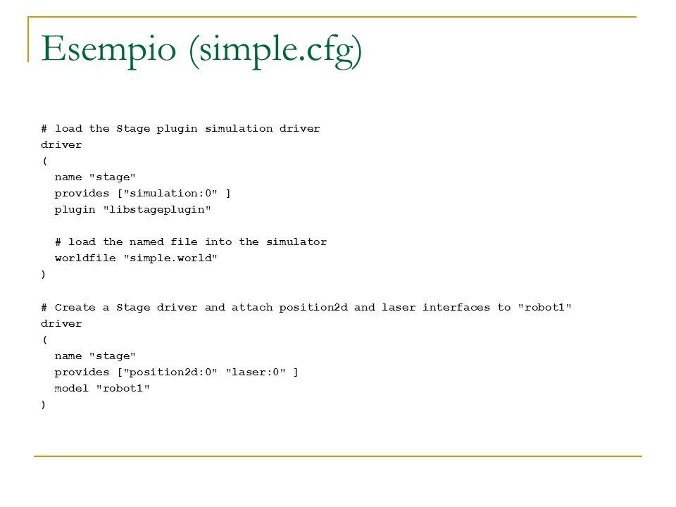 Schema di programma di base int main(int argc, char *argv[]) { using namespace PlayerCc; double ss,phi; double tx=5., ty=5.; //coordinate del punto target PlayerClient robot( localhost ); SonarProxy sp(&robot,0); LaserProxy lp(&robot,0); Position2dProxy pp(&robot,0); for(;;) { robot.Read(); //aspetta i dati dei sensori elabora(); //qualche elaborazione...