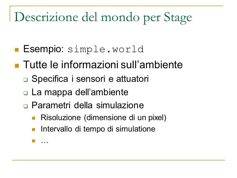 Descrizione del mondo per Stage Esempio: simple.world Tutte le informazioni sullambiente Specifica i sensori e attuatori La mappa dellambiente Paramet