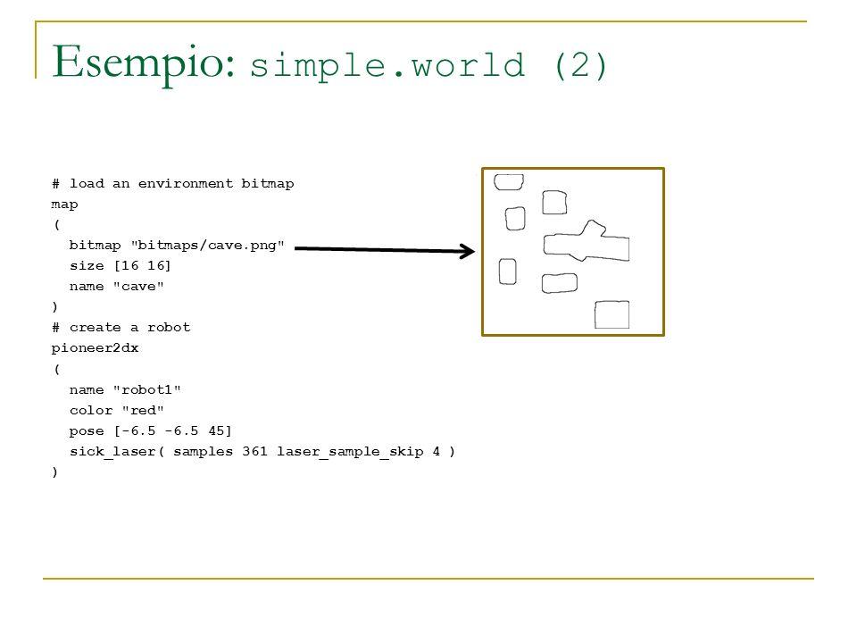 Esempio: simple.world (2) # load an environment bitmap map ( bitmap