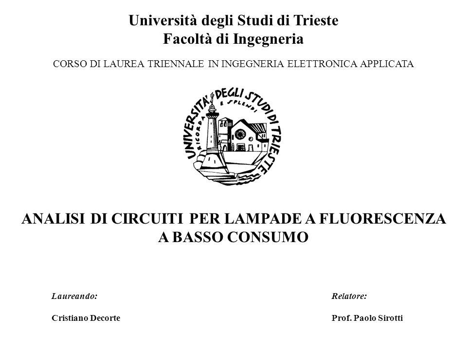 Università degli Studi di Trieste Facoltà di Ingegneria CORSO DI LAUREA TRIENNALE IN INGEGNERIA ELETTRONICA APPLICATA ANALISI DI CIRCUITI PER LAMPADE