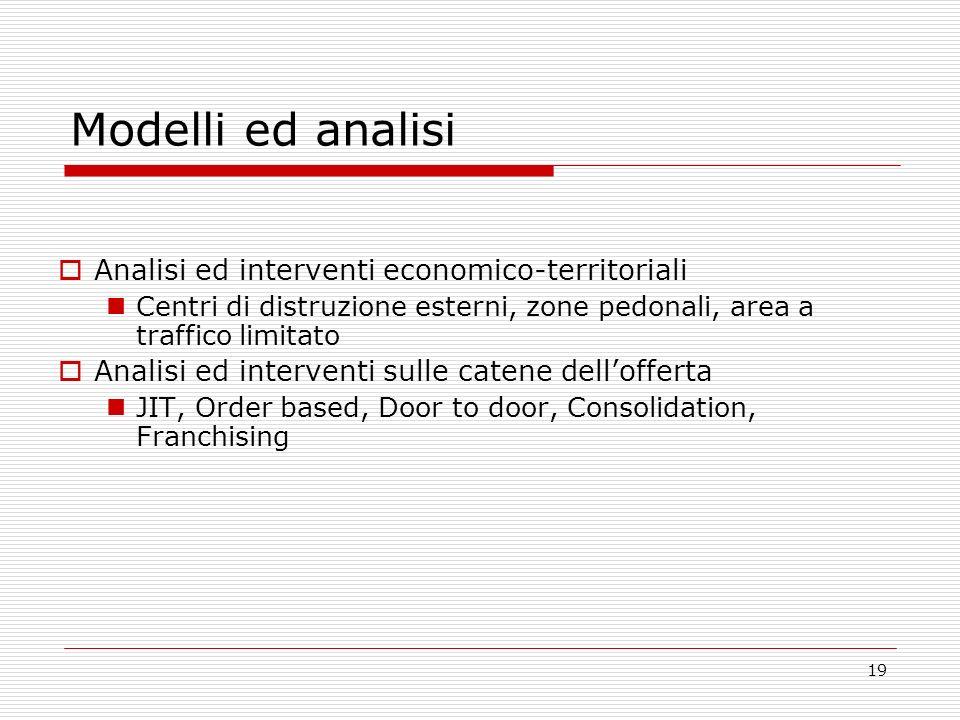 19 Modelli ed analisi Analisi ed interventi economico-territoriali Centri di distruzione esterni, zone pedonali, area a traffico limitato Analisi ed i