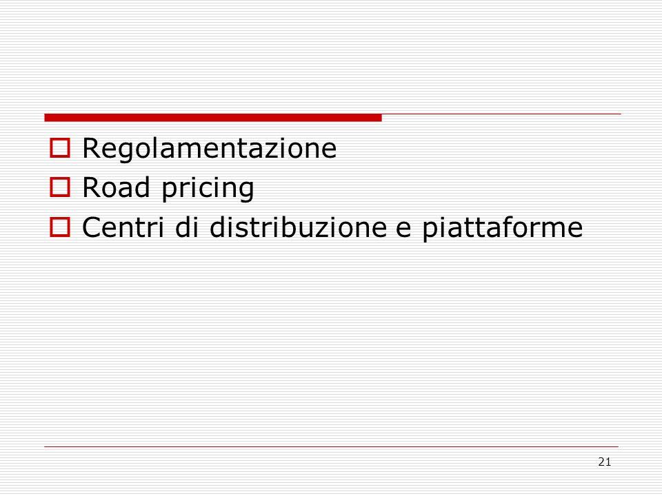 21 Regolamentazione Road pricing Centri di distribuzione e piattaforme