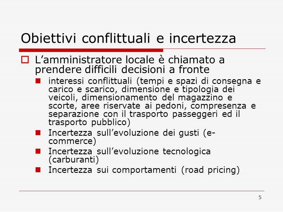 5 Obiettivi conflittuali e incertezza Lamministratore locale è chiamato a prendere difficili decisioni a fronte interessi conflittuali (tempi e spazi
