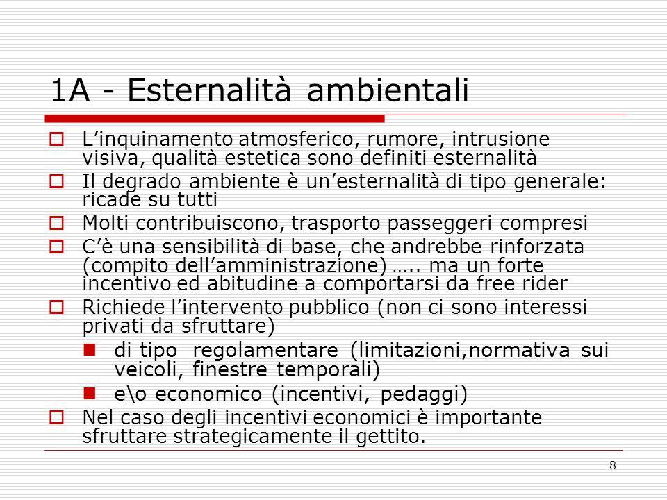 8 1A - Esternalità ambientali Linquinamento atmosferico, rumore, intrusione visiva, qualità estetica sono definiti esternalità Il degrado ambiente è u