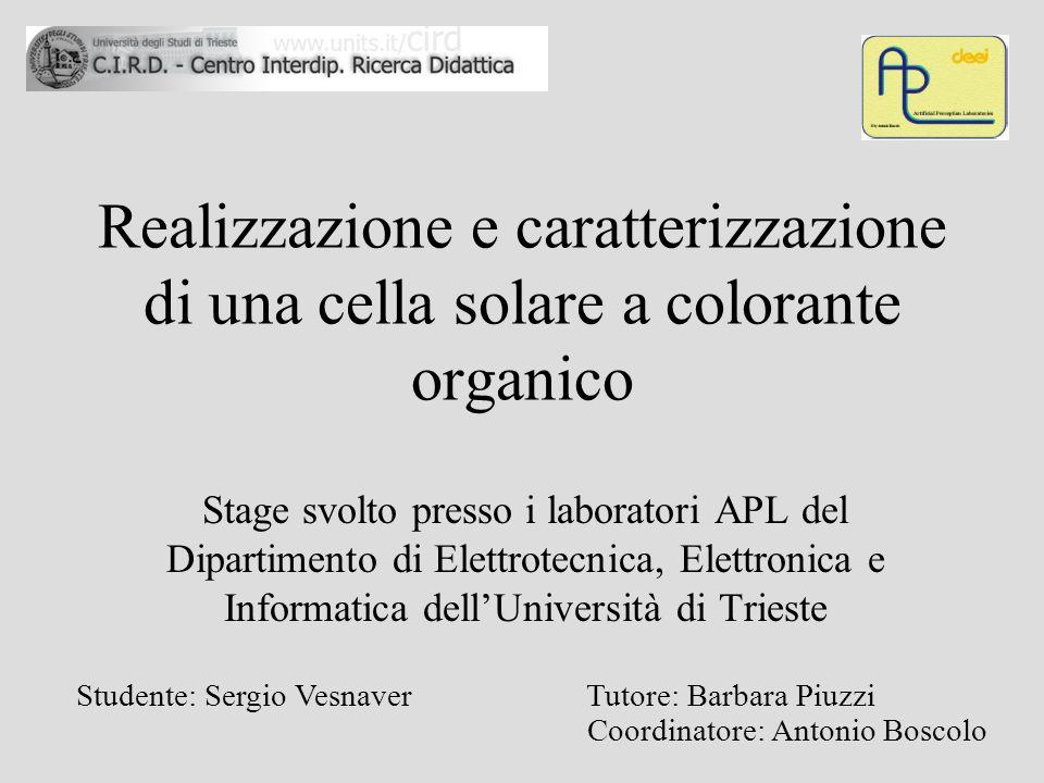Realizzazione e caratterizzazione di una cella solare a colorante organico Stage svolto presso i laboratori APL del Dipartimento di Elettrotecnica, El