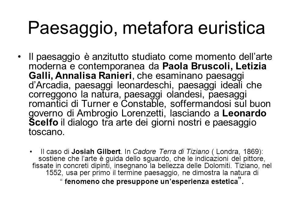 Paesaggio, metafora euristica Il paesaggio è anzitutto studiato come momento dellarte moderna e contemporanea da Paola Bruscoli, Letizia Galli, Annali