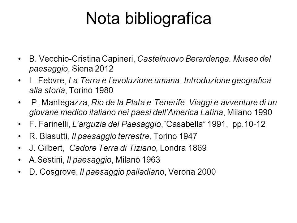 Nota bibliografica B. Vecchio-Cristina Capineri, Castelnuovo Berardenga. Museo del paesaggio, Siena 2012 L. Febvre, La Terra e levoluzione umana. Intr