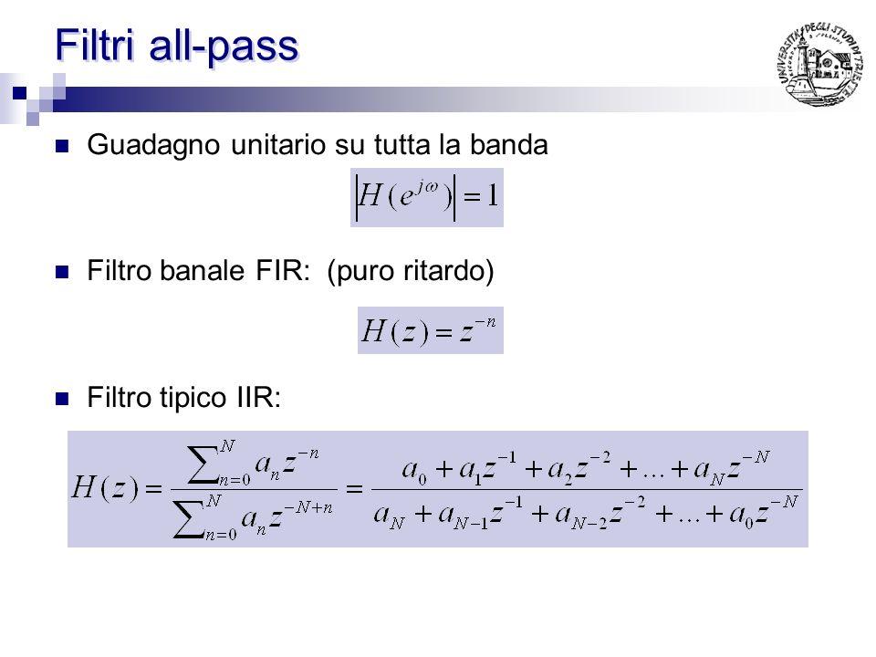 Filtri all-pass Guadagno unitario su tutta la banda Filtro banale FIR: (puro ritardo) Filtro tipico IIR: