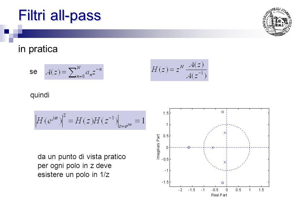 Filtri all-pass in pratica se quindi da un punto di vista pratico per ogni polo in z deve esistere un polo in 1/z