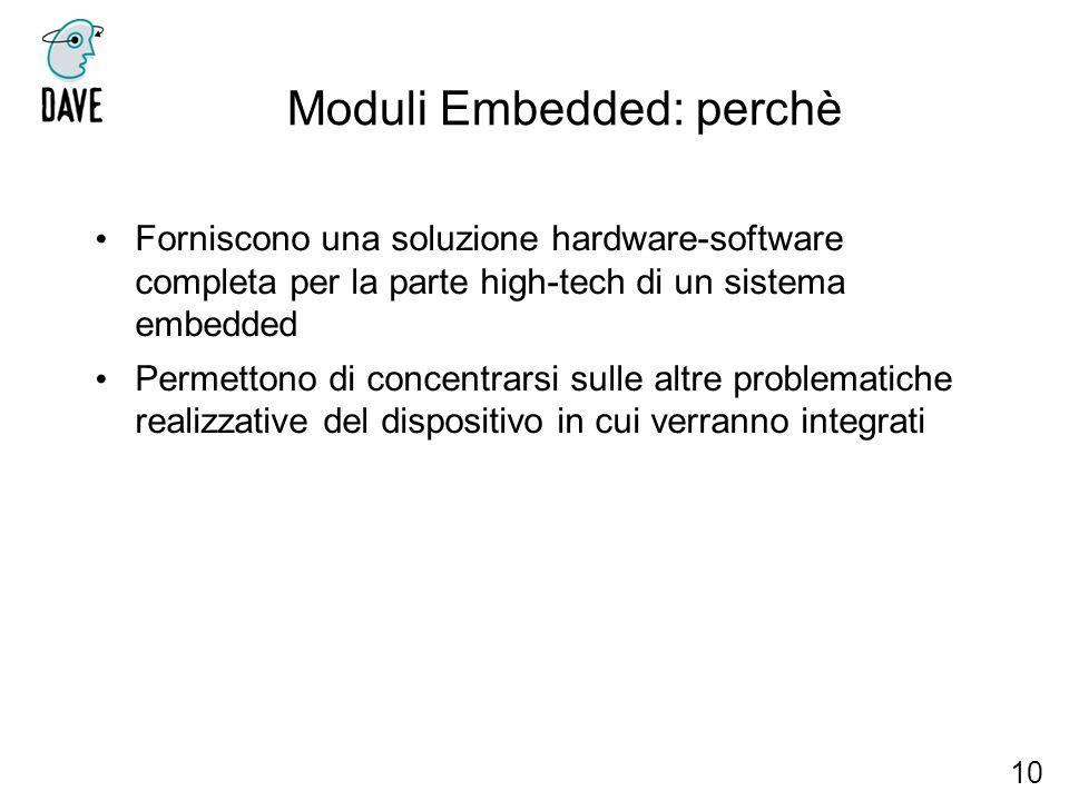 Moduli Embedded: perchè 10 Forniscono una soluzione hardware-software completa per la parte high-tech di un sistema embedded Permettono di concentrars