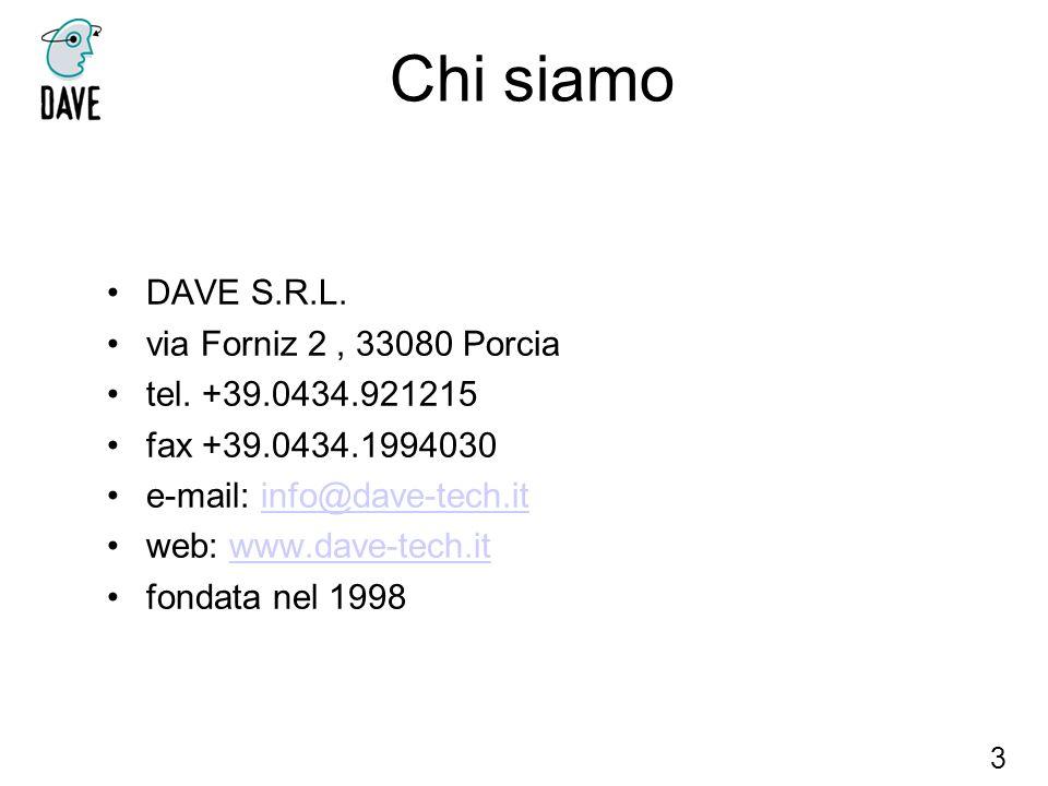 Chi siamo DAVE S.R.L. via Forniz 2, 33080 Porcia tel. +39.0434.921215 fax +39.0434.1994030 e-mail: info@dave-tech.itinfo@dave-tech.it web: www.dave-te