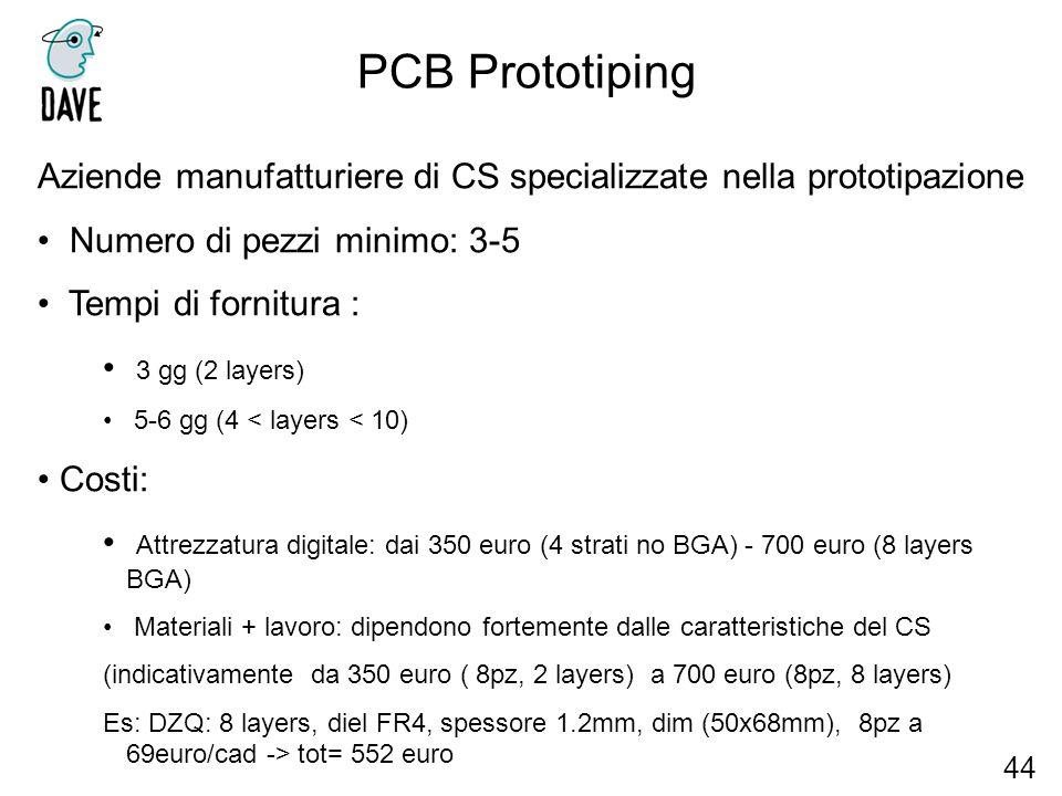 PCB Prototiping 44 Aziende manufatturiere di CS specializzate nella prototipazione Numero di pezzi minimo: 3-5 Tempi di fornitura : 3 gg (2 layers) 5-