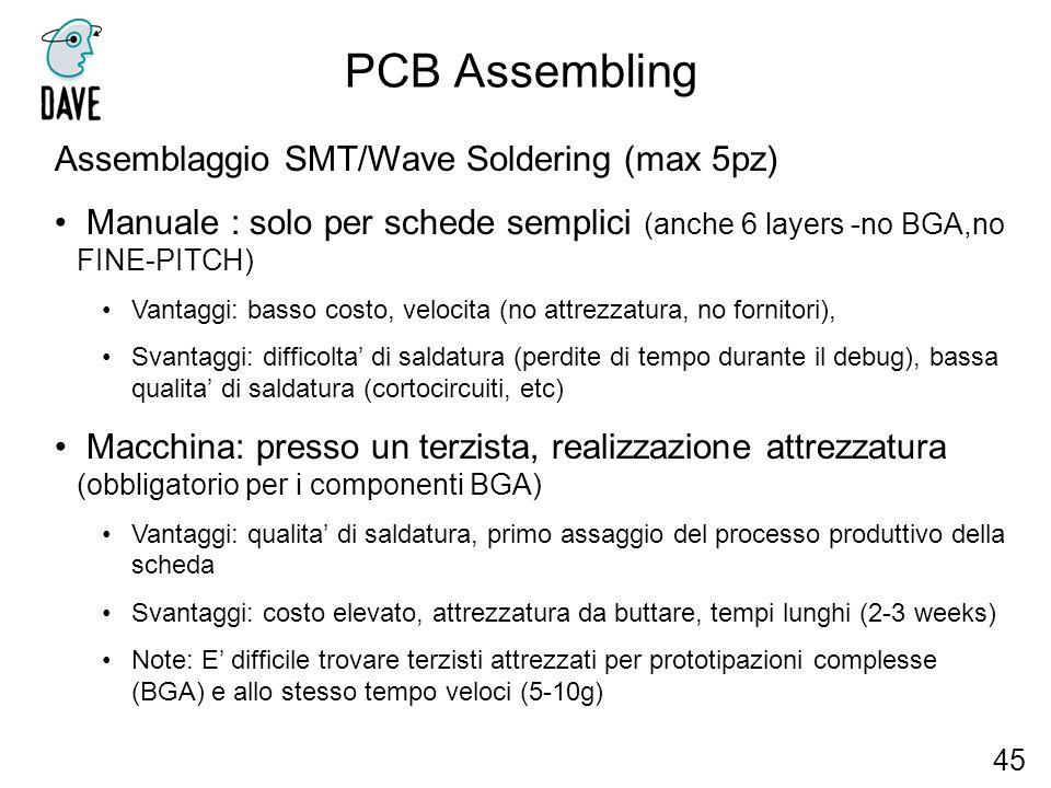 PCB Assembling 45 Assemblaggio SMT/Wave Soldering (max 5pz) Manuale : solo per schede semplici (anche 6 layers -no BGA,no FINE-PITCH) Vantaggi: basso