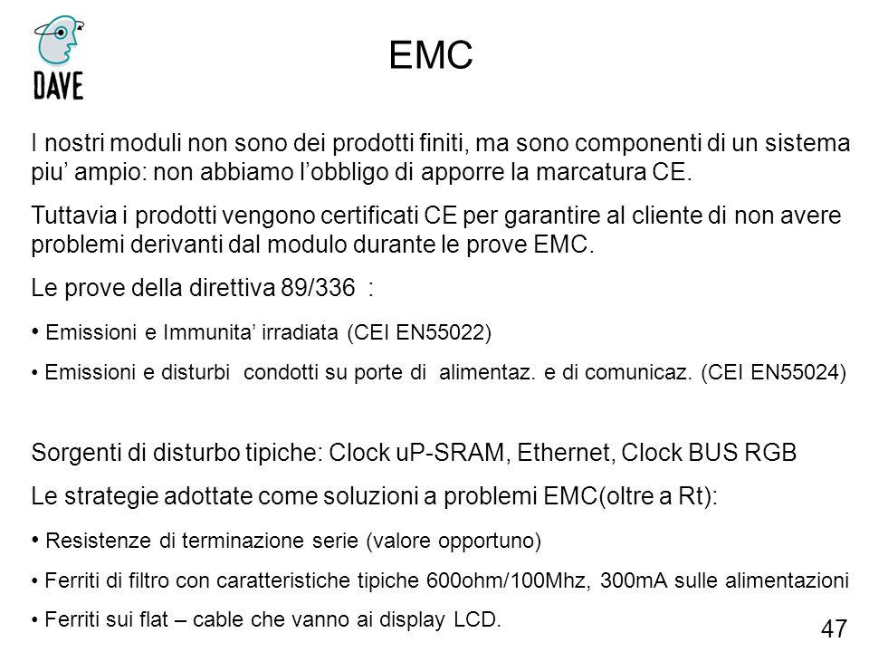 EMC 47 I nostri moduli non sono dei prodotti finiti, ma sono componenti di un sistema piu ampio: non abbiamo lobbligo di apporre la marcatura CE. Tutt