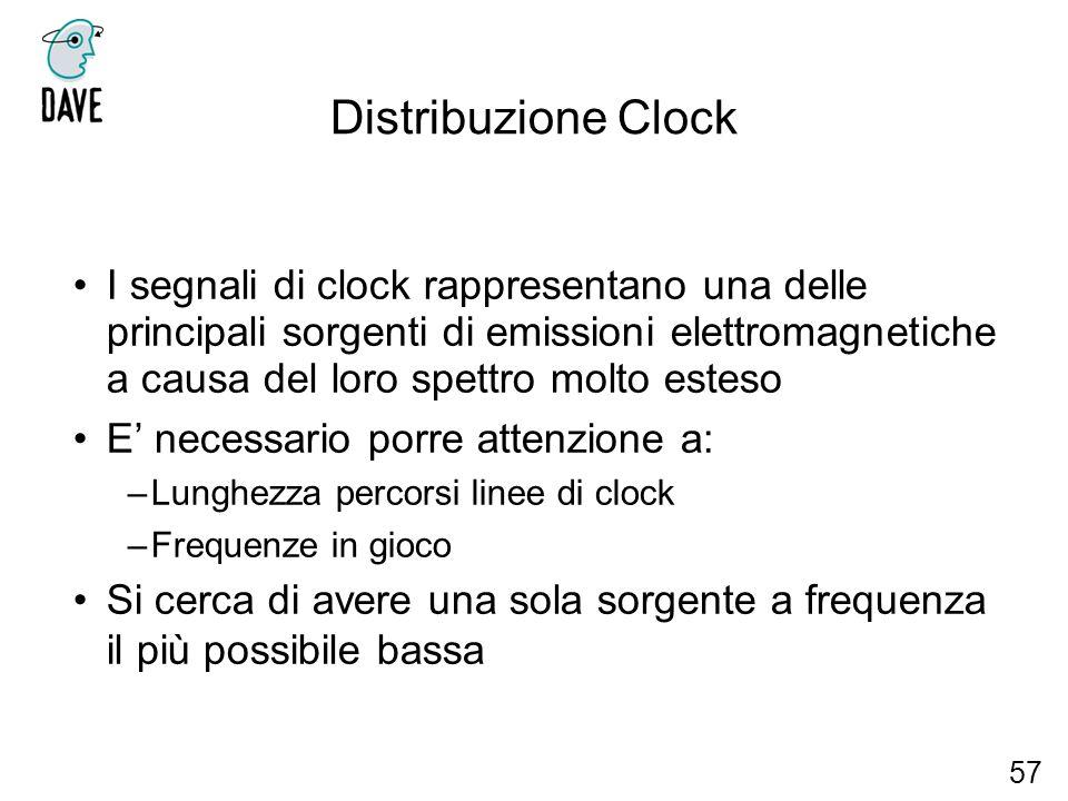 Distribuzione Clock I segnali di clock rappresentano una delle principali sorgenti di emissioni elettromagnetiche a causa del loro spettro molto estes