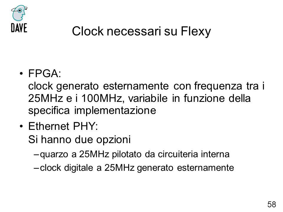 Clock necessari su Flexy FPGA: clock generato esternamente con frequenza tra i 25MHz e i 100MHz, variabile in funzione della specifica implementazione