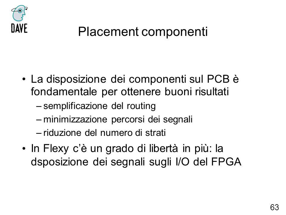 Placement componenti La disposizione dei componenti sul PCB è fondamentale per ottenere buoni risultati –semplificazione del routing –minimizzazione p