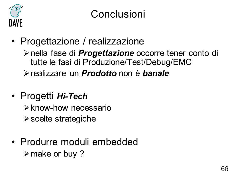 Conclusioni Progettazione / realizzazione nella fase di Progettazione occorre tener conto di tutte le fasi di Produzione/Test/Debug/EMC realizzare un