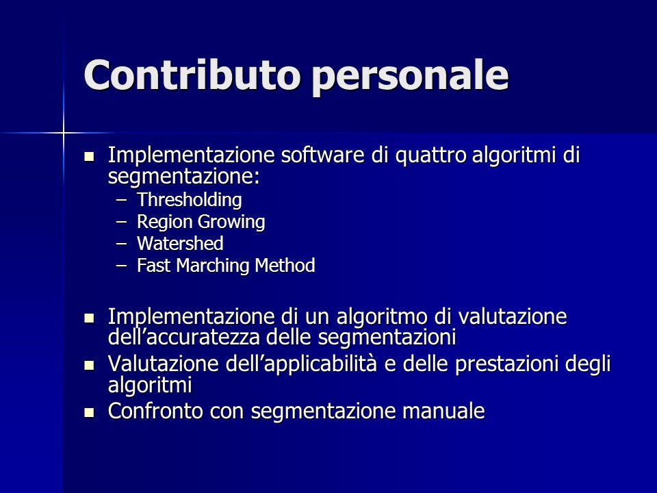 Contributo personale Implementazione software di quattro algoritmi di segmentazione: Implementazione software di quattro algoritmi di segmentazione: –