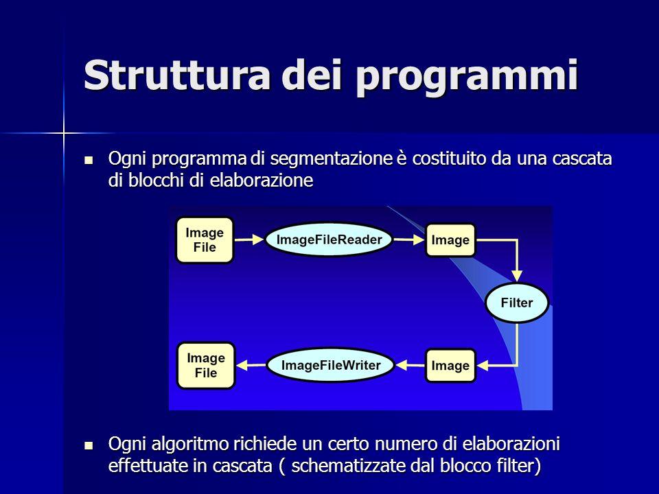 Struttura dei programmi Ogni programma di segmentazione è costituito da una cascata di blocchi di elaborazione Ogni programma di segmentazione è costi