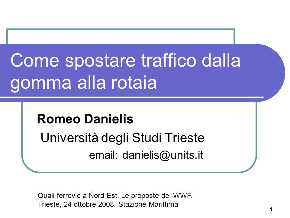 1 Come spostare traffico dalla gomma alla rotaia Romeo Danielis Università degli Studi Trieste email: danielis@units.it Quali ferrovie a Nord Est.