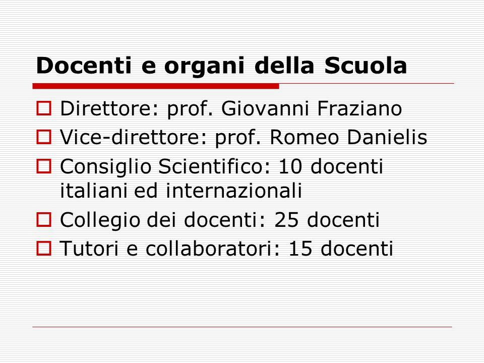 Docenti e organi della Scuola Direttore: prof. Giovanni Fraziano Vice-direttore: prof. Romeo Danielis Consiglio Scientifico: 10 docenti italiani ed in