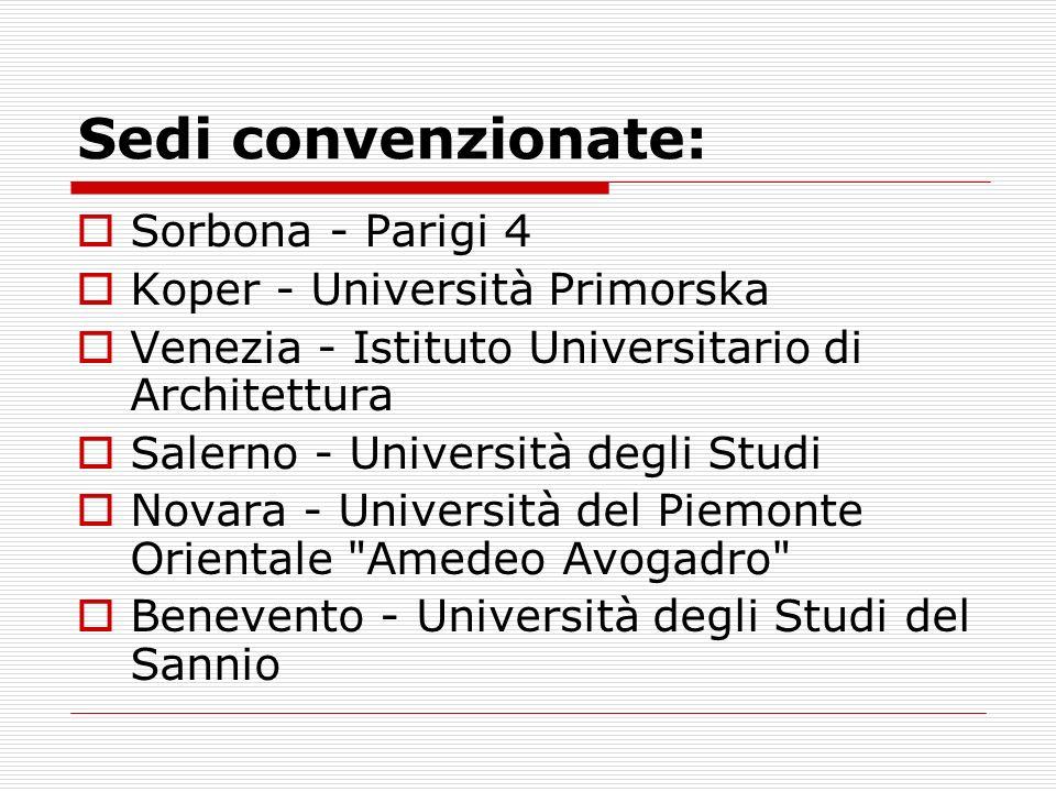 Sedi convenzionate: Sorbona - Parigi 4 Koper - Università Primorska Venezia - Istituto Universitario di Architettura Salerno - Università degli Studi