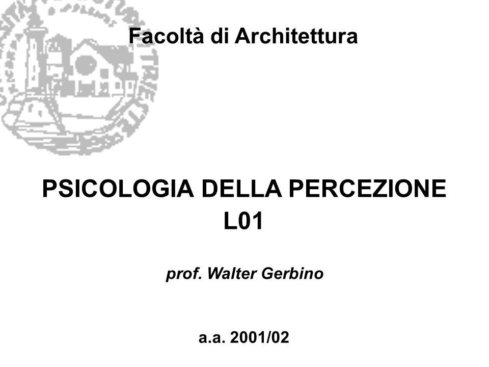 Facoltà di Architettura PSICOLOGIA DELLA PERCEZIONE L01 a.a. 2001/02 prof. Walter Gerbino