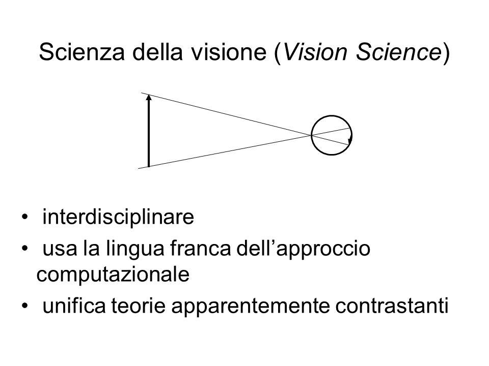 Scienza della visione (Vision Science) interdisciplinare usa la lingua franca dellapproccio computazionale unifica teorie apparentemente contrastanti