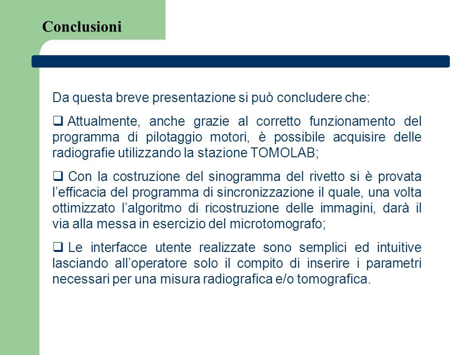 Conclusioni Da questa breve presentazione si può concludere che: Attualmente, anche grazie al corretto funzionamento del programma di pilotaggio motor