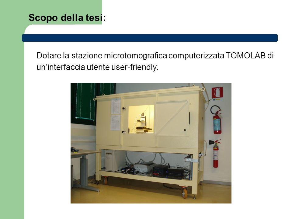 Scopo della tesi: Dotare la stazione microtomografica computerizzata TOMOLAB di uninterfaccia utente user-friendly.