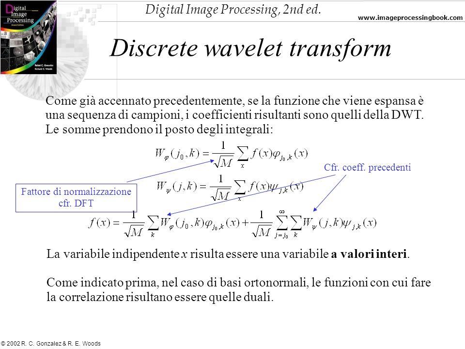 Digital Image Processing, 2nd ed. www.imageprocessingbook.com © 2002 R. C. Gonzalez & R. E. Woods Discrete wavelet transform Come già accennato preced