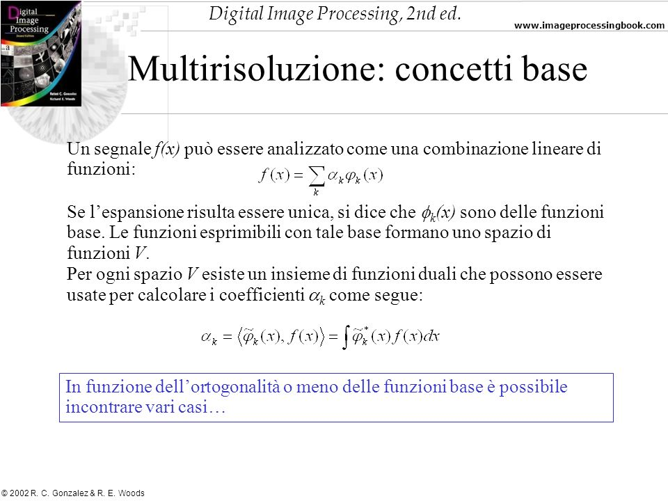 Digital Image Processing, 2nd ed. www.imageprocessingbook.com © 2002 R. C. Gonzalez & R. E. Woods Multirisoluzione: concetti base Un segnale f(x) può