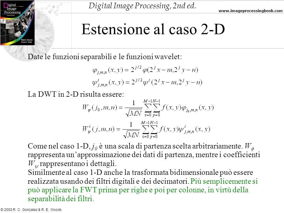 Digital Image Processing, 2nd ed. www.imageprocessingbook.com © 2002 R. C. Gonzalez & R. E. Woods Estensione al caso 2-D Date le funzioni separabili e