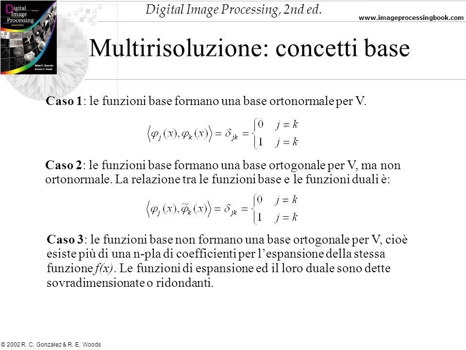 Digital Image Processing, 2nd ed. www.imageprocessingbook.com © 2002 R. C. Gonzalez & R. E. Woods Multirisoluzione: concetti base Caso 1: le funzioni