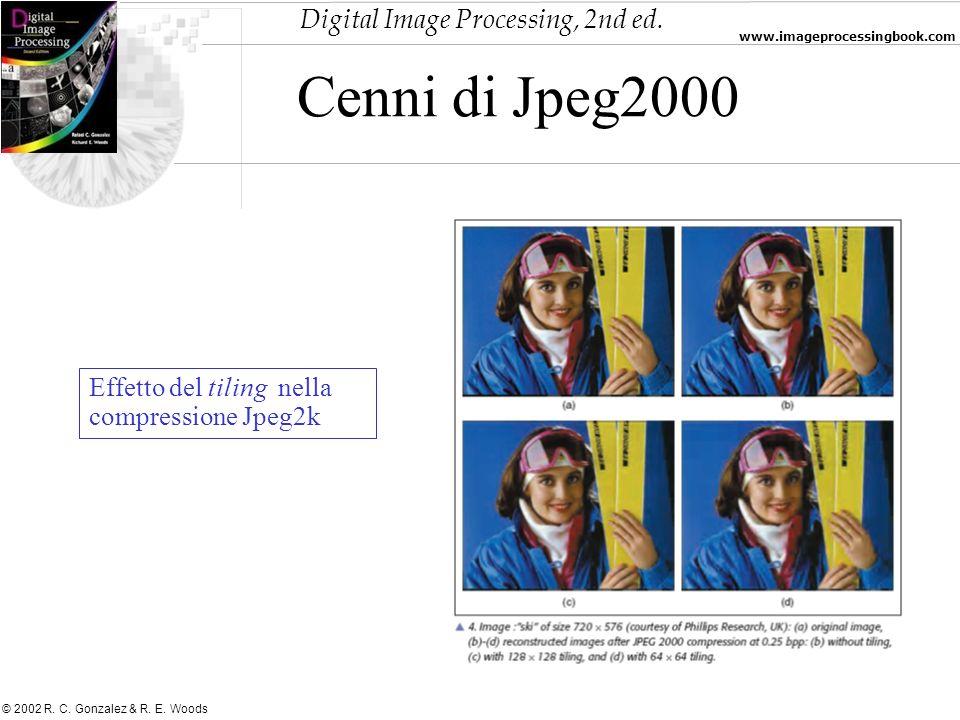 Digital Image Processing, 2nd ed. www.imageprocessingbook.com © 2002 R. C. Gonzalez & R. E. Woods Cenni di Jpeg2000 Effetto del tiling nella compressi