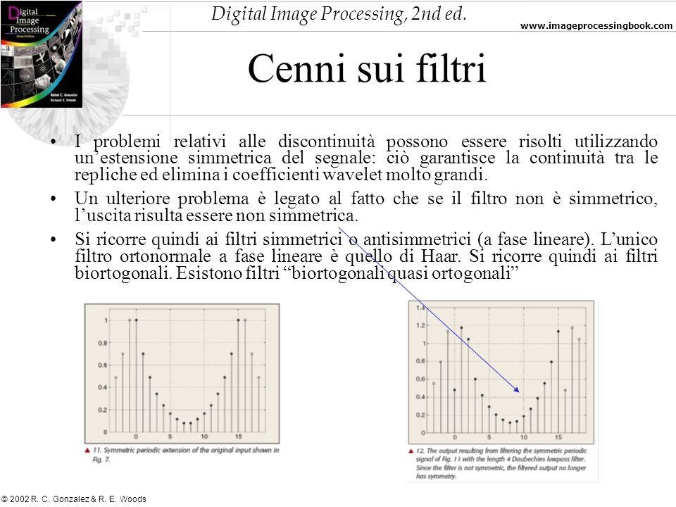 Digital Image Processing, 2nd ed. www.imageprocessingbook.com © 2002 R. C. Gonzalez & R. E. Woods Cenni sui filtri I problemi relativi alle discontinu