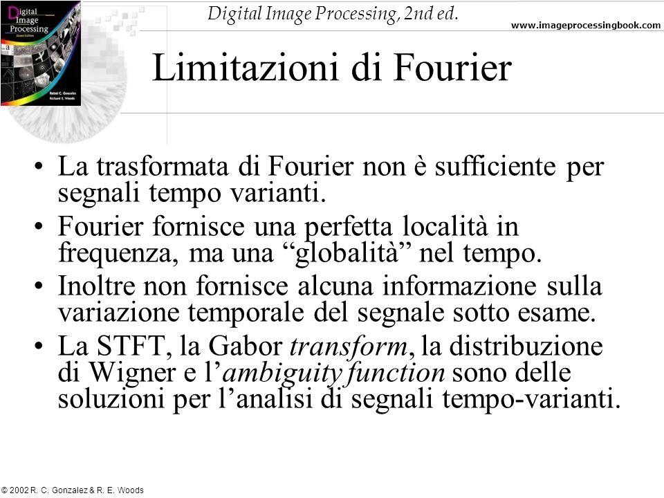 Digital Image Processing, 2nd ed. www.imageprocessingbook.com © 2002 R. C. Gonzalez & R. E. Woods Limitazioni di Fourier La trasformata di Fourier non