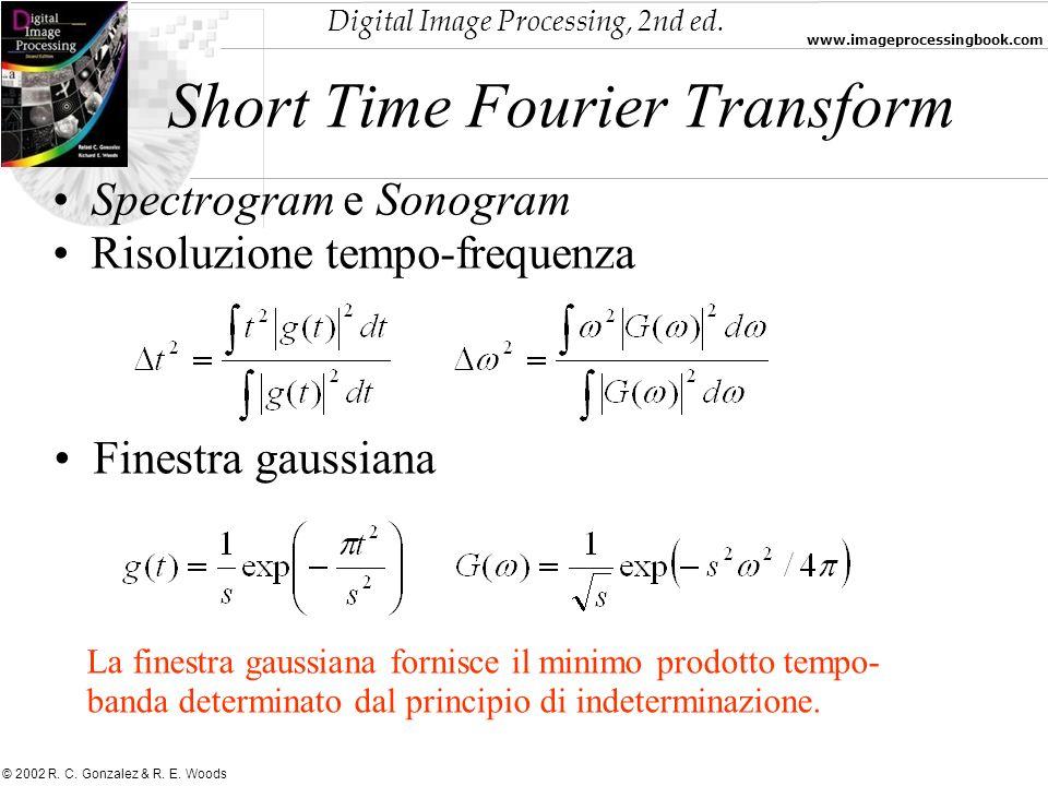 Digital Image Processing, 2nd ed. www.imageprocessingbook.com © 2002 R. C. Gonzalez & R. E. Woods Spectrogram e Sonogram Risoluzione tempo-frequenza S