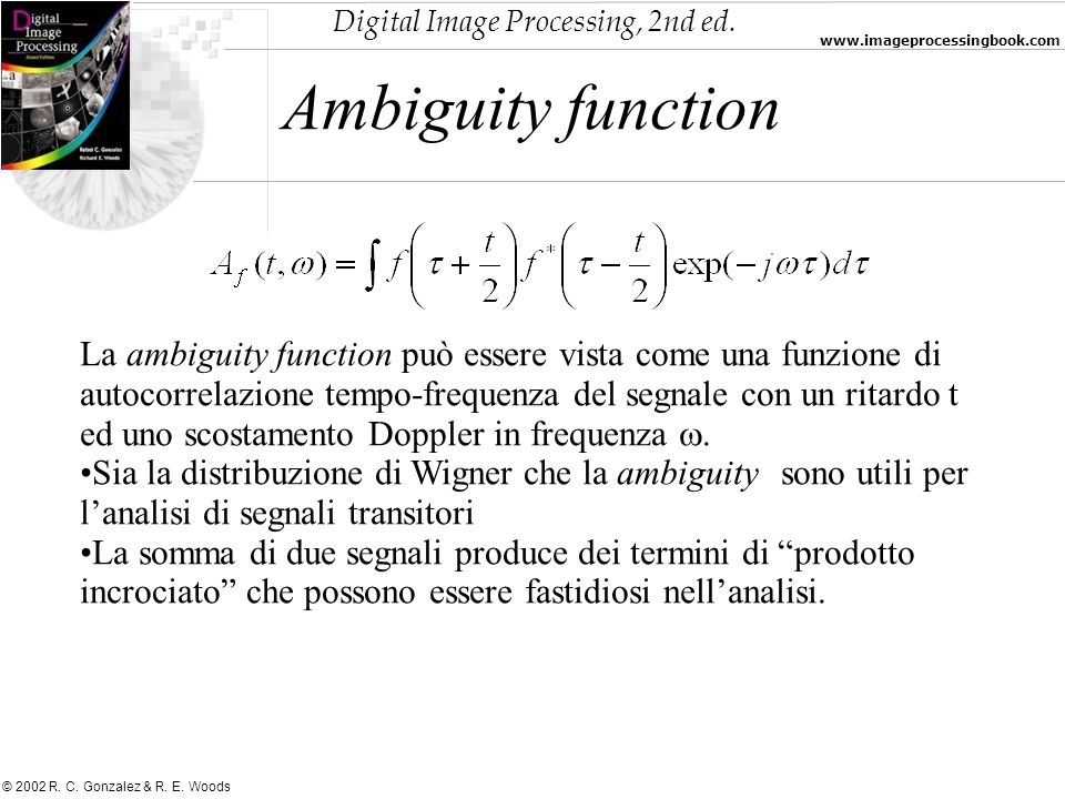 Digital Image Processing, 2nd ed. www.imageprocessingbook.com © 2002 R. C. Gonzalez & R. E. Woods Ambiguity function La ambiguity function può essere