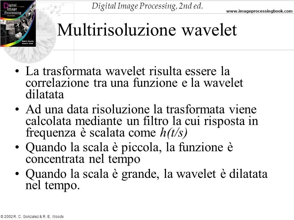 Digital Image Processing, 2nd ed. www.imageprocessingbook.com © 2002 R. C. Gonzalez & R. E. Woods Multirisoluzione wavelet La trasformata wavelet risu